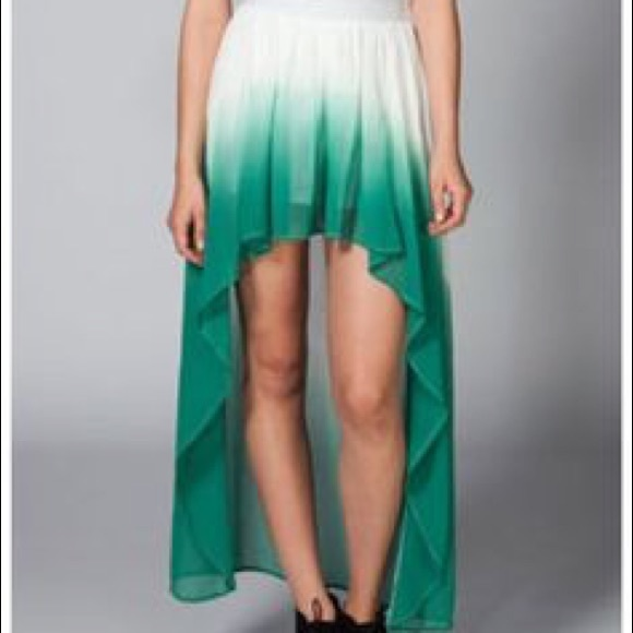 58 dresses skirts l green white ombr 233 high low