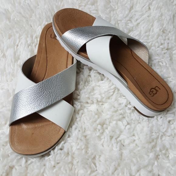 Ugg Kari Silver White Sandals 6