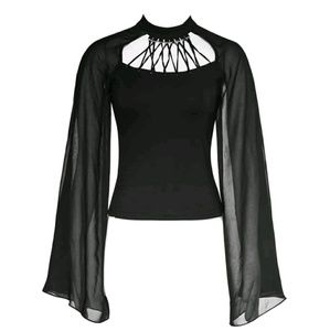 Hot Topic Tops - New Dark Mystic Sheer Mesh Sleeves Choker Ring Top