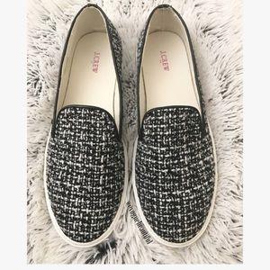 JCrew black and white tweed slip on loafer