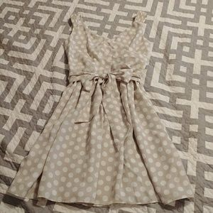 Express Beige White Polka Dot Dress