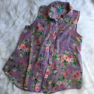 H.I.P. Tops - Sheer Sleeveless Floral Print Button Down Blouse