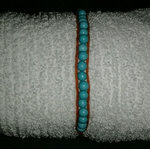 Turquoise/leather wrap bracelet