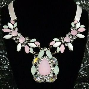 Gorgeous pink ribbon boutique statement necklace