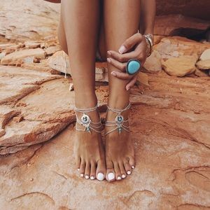 Boutique Jewelry - ✨Boho Silver Plated Anklet With Turquoise Detail✨
