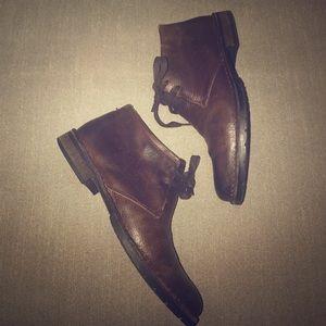 John Varvatos Other - John Varvatos leather round toe lace-up chukkas