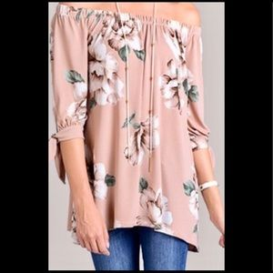 Tops - Dusty pink floral tunic