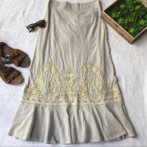Floreat embroidered beaded boho ruffle maxi skirt