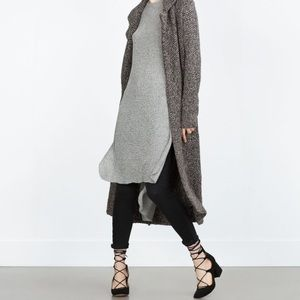 Zara Tops - Zara Knit Grey Ribbed Long Top
