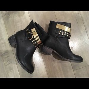 Black with gold studs ankle boot