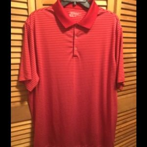 Nike Other - Nike Golf Dri-fit Red & White Striped Polo Shirt