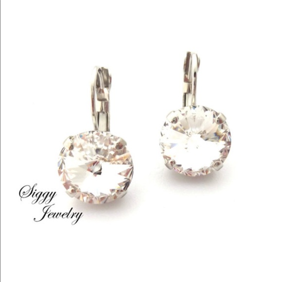 defb8516d0e Swarovski Jewelry | 12mm Clear Crystal Rivoli Drop Earrings | Poshmark
