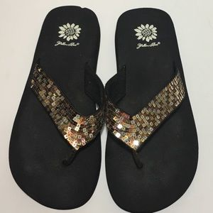 Yellow Box Shoes - Sequin flip flops by Yellow Box
