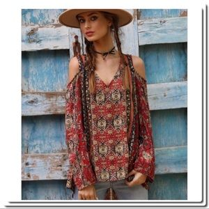 Cold Shoulder Top In Tribal Print