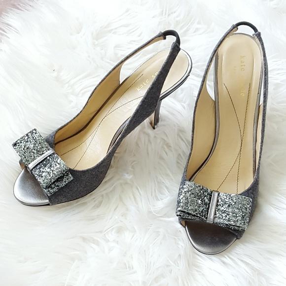 8bddb1c88a70 kate spade Shoes - Kate Spade Slingback Sparkle Bow Heels sz 8.5  298