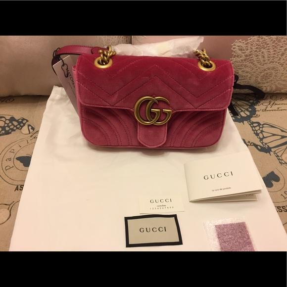 GG Marmont velvet mini bag - Pink & Purple Gucci 24afoy2