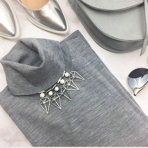 Gray Merino Wool Long Sleeve Turtleneck