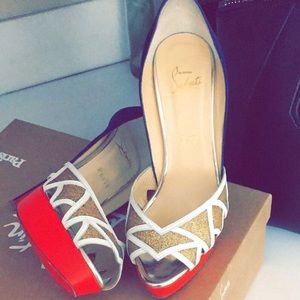 christian louboutin blue white gold ekaia