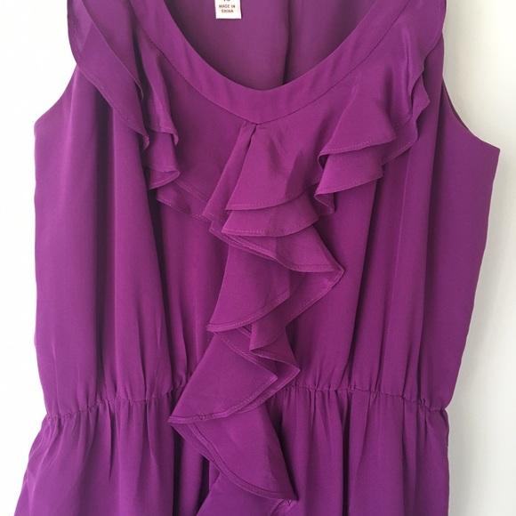 ruffles sleeveless silk purple chin maggy suzi boutique