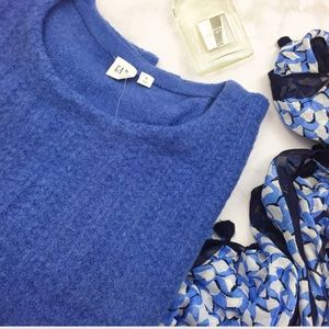 Blue Ribbed Front Soft Chunky Knit Sweater