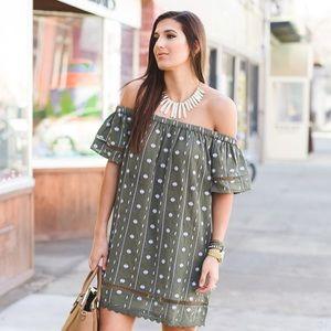 TopShop 4 off the shoulder embroidered dress