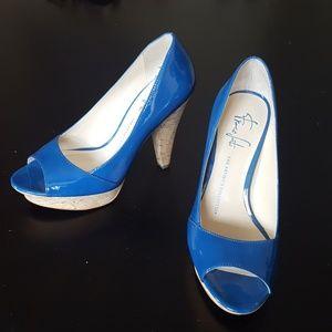 Blue Leather Cork Platform Heels - Franco Sarto 6M