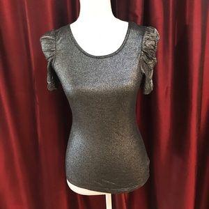 Forever21 metallic short sleeve puff sleeve top