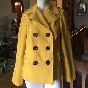 Old Navy Jackets & Blazers - Old Navy Yellow Peacoat Sz M