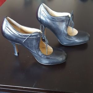 Black Nine West Leather Heels - 6M