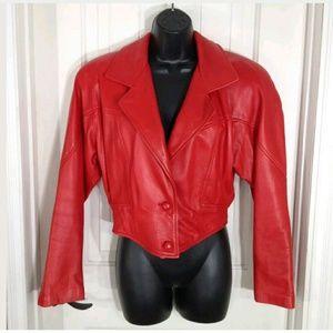 Vintage Jackets & Blazers - Vtg 80s Lillie Rubin Erez Leather Crop Jacket MED
