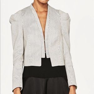 Short stripe jacket with h puffy sleeves