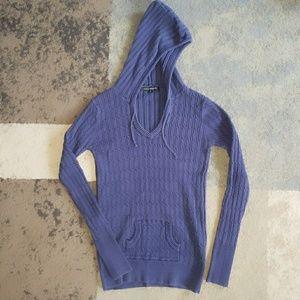PattyBoutik Sweaters - Patty Boutik Navy cableknit hooded sweater