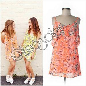NWT S LF Neon Orange Ruffle Mini Dress Tunic