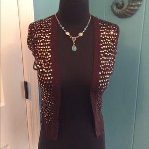 Wow! BCBG sequined brown knit shrug vest