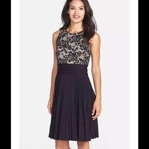Eliza J Dresses & Skirts - ELIZA J Lace Pleated Jersey Fit & Flare Dress