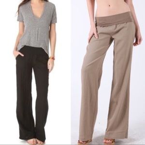 Black Linen & Rayon Cheng Casual Pants