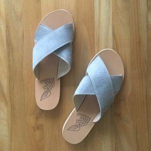 Ancient Greek Sandals Shoes - Ancient Greek Sandals THAIS grey pony hair slides