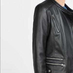 Zara Jackets & Blazers - ZARA BLACK FAUX LEATHER BIKER JACKET