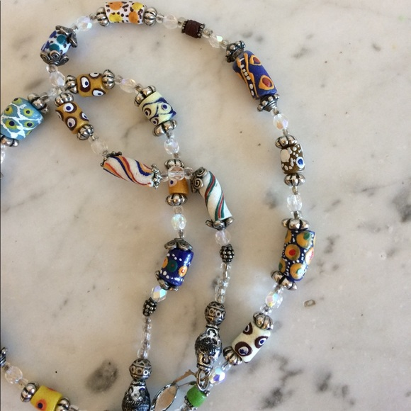 african trade bead necklace 30 crystals os from carolyn
