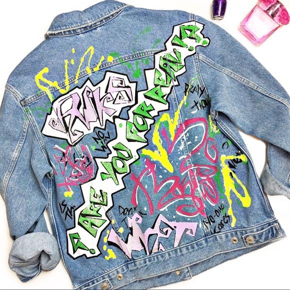 Topshop Jackets & Blazers - Topshop Moto Graffiti Denim Jacket