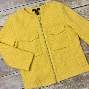 H&M Tweed Yellow Zip Front 3/4 Sleeve Jacket