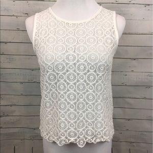 Madewell Tops - Madewell hi-line white crochet Blouse button sheer