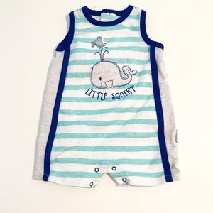 Vitamins Baby Other - Lil Squirt Striped Whale Bodysuit Blue Grey Muscle