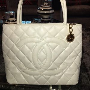 fca1d3ad1f29 CHANEL Bags | White Vintage Tote With Gold Medallion | Poshmark