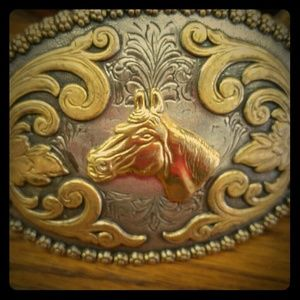 Vintage Other - ✨VTG✨ Tooled Leather Belt & Brass Horse Buckle