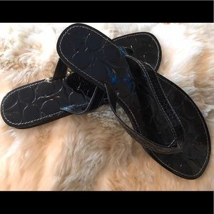 Coach Patent Leather Flip Flops