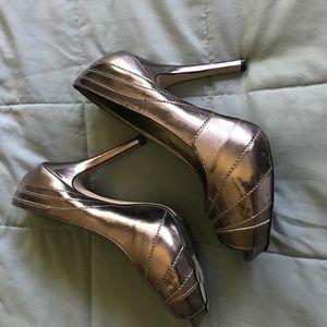 Tip Toey Joey Shoes - Metallic silver heels about 3in heel