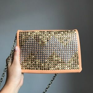 Orange and gold clutch (with chain)