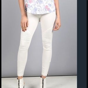 Pants - White Moto Jeggings by Beulah Style