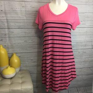 5th & Love Dresses & Skirts - 5th & Love medium dress pull on pink black stripe